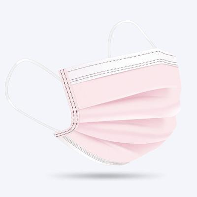 高效防護口罩一次性防塵透氣防飛沫口鼻罩單獨立包裝 【獨立裝三層防護】粉色50枚