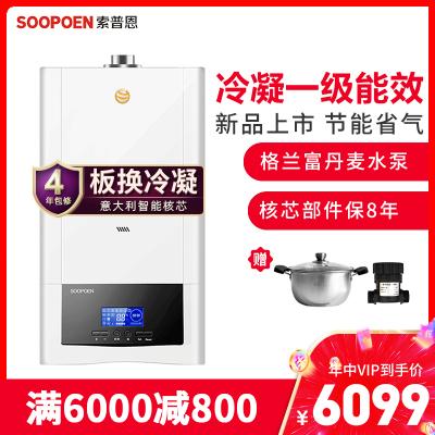 索普恩(SOOPOEN)冷凝式壁掛爐 燃氣采暖爐 板換式鍋爐天然氣熱水器地暖供暖洗浴家用兩用 一級能效GN-24KW