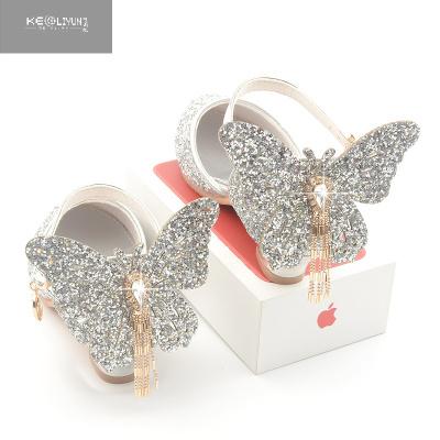 韓版女童流蘇蝴蝶公主鞋春秋兒童高跟鞋夏季新款銀色表演包頭涼鞋  可莉允