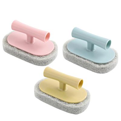 帶柄刷子強力去污浴缸刷百潔刷子瓷磚刷廚房用刷洗鍋清潔刷海綿擦