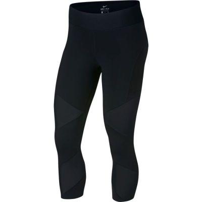 耐克(NIKE) 女子運動網面梭織緊身褲跑步訓練七分褲 933628-010