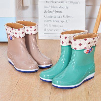 水鞋女低幫成人中筒雨鞋女加絨短筒時尚夏水靴女防滑雨靴女防水鞋 TCVV