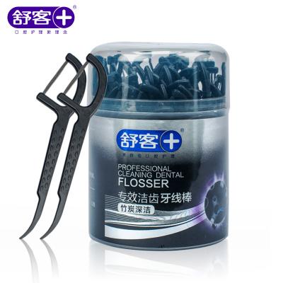 舒客舒克專業潔齒牙線棒竹炭深潔50支*4盒扁線專業口腔護理弓形棒家庭裝