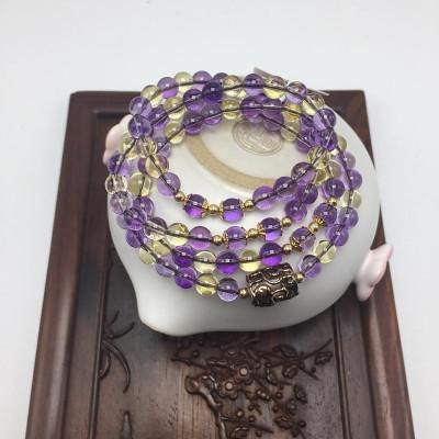 天然紫黄晶项手串