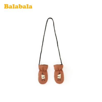巴拉巴拉男童手套包指冬季新款加厚保暖加絨兒童可愛卡通針織毛線