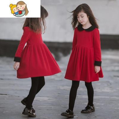 女童连衣裙过年新年秋冬装红色大童儿童加绒超洋气小女孩公主裙子