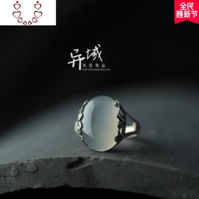 【水潤。】泰銀925純銀飾品 手工鑲嵌 白玉髓花復古款戒指指環 Chunmi