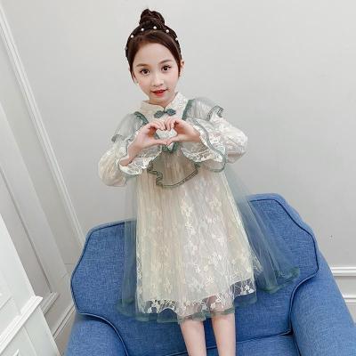 MinanSer 女童連衣裙春秋2020新款兒童裝復古旗袍網紗公主裙中大童洋氣裙子秋季新款