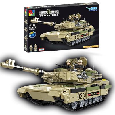 沃馬(WOMA) 積木坦克車玩具大型軍事模型兼容樂高式拼插拼裝兒童玩 艾布拉姆斯M1A2主戰坦克(1074片)C0125