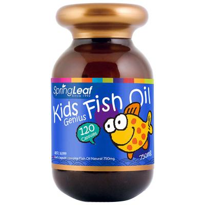 第二件半價 澳洲直郵 假一賠十 Spring Leaf綠芙 兒童DHA魚油膠囊750mg 120粒橙子口味無魚腥味