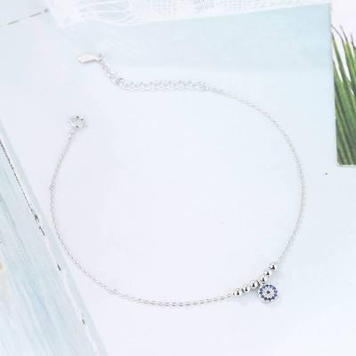土耳其S925純銀惡魔之眼腳鏈女氣質簡約復古風 珠飾品學生禮物