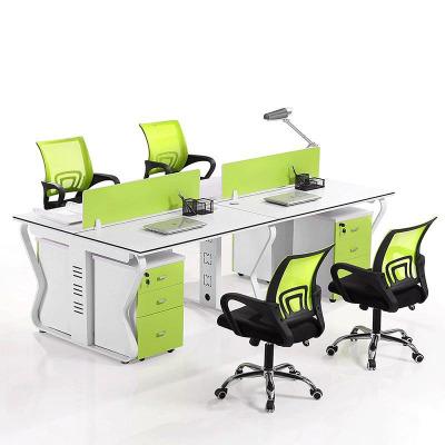 鑫金虎 办公家具桌椅组合双人位4人位6人位其他员工办公室桌子简约现代职员办公桌钢架屏风桌 四人位钢