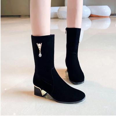 森达利2019新款女鞋NG-01女士秋冬新品棉靴加绒保暖雪地靴粗跟高跟中筒靴侧拉链短靴子短毛绒女靴
