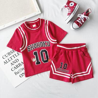 珂卡慕(KEKAMU) 男女童灌篮高手卡通纯T恤短裤套装篮球服数字休闲运动套装