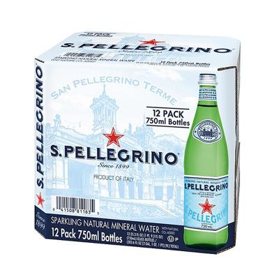 【矿物质水】圣培露(S.PELLEGRINO)天然气泡矿泉水玻璃瓶 750ml*12瓶/箱进口饮用水 意大利进口