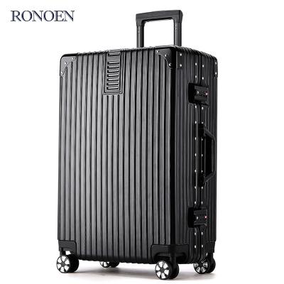 羅恩Ronoen防刮鋁框拉桿箱萬向輪29寸行李箱24寸耐磨旅行箱男女托運箱20登機箱復古皮箱硬箱包26直角學生密碼箱超輕