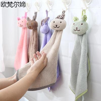 歐梵爾媂浴室掛式珊瑚絨可愛擦手搽手巾廚房抹布手帕雙面加厚卡通吸水毛巾