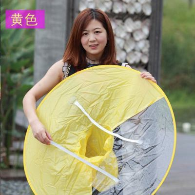 雨神器遮雨帽斗篷雨天飛碟雨衣帽傘創意兒雨披折疊頭戴式雨傘 定制