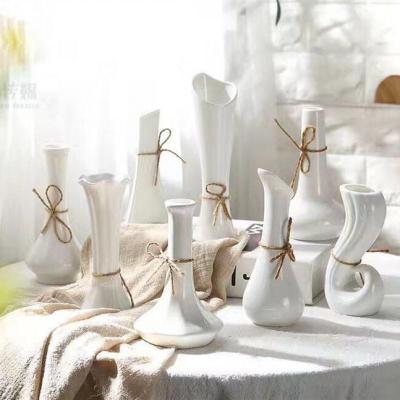 (隨機6個裝)陶瓷小花瓶水培花瓶小號干花花插家居裝飾白色花器【定制】 22.9元隨機6個裝