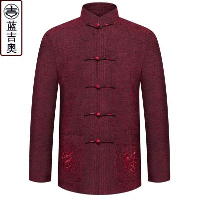 中老年人唐裝男春季長袖上衣中山裝爸爸爺爺老人衣服裝中國風春裝