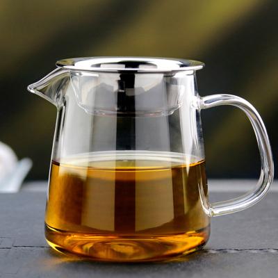 【优选】加厚玻璃公道杯 不锈钢过滤网耐高温茶隔分茶器带茶漏茶海功夫透明玻璃杯茶具配件情人节礼物送长辈礼品