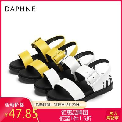 Daphne/達芙妮正品夏季時尚舒適潮流街頭松糕鞋純色中涼鞋