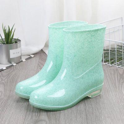 2019年加棉雨鞋女短筒成人雨靴时尚水靴夏季防水鞋女士防滑中筒胶鞋套鞋女士雨靴优旋