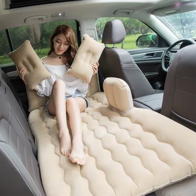 车载充气床垫成人后排汽车用品轿车闪电客SUV旅行床垫睡垫车上睡觉 分体植绒无档-米色