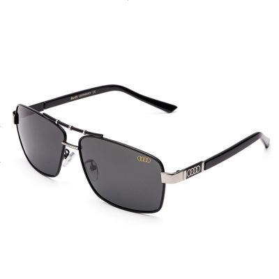 厂家直销奥迪男士太阳镜偏光墨镜户外驾驶休闲眼镜550 银框黑片 精美包装一套