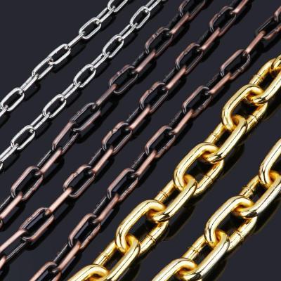 金色鏈條鐵鏈子吊燈鏈金屬鏈條銅鏈條不銹鋼鐵鏈條鎖大號銅鏈 金色線粗3毫米鏈條
