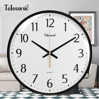 天王星(Telesonic)客廳掛鐘現代簡約圓形會議室書房鐘表 創意靜音時尚石英鐘 靜音掃秒機芯 14英寸