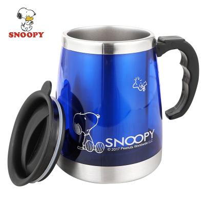 SNOOPY史努比馬克杯DP5008 帶蓋辦公室家用不銹鋼隔熱卡通情侶咖啡個性喝水杯子