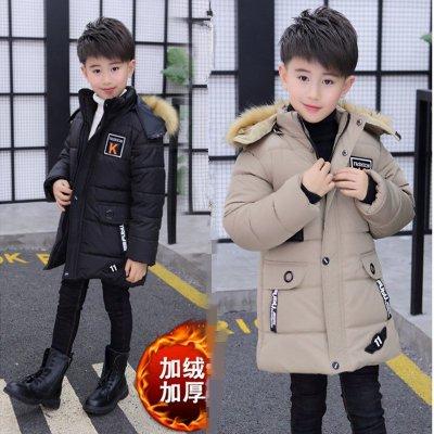 男童冬季棉衣加絨加厚棉襖中長款小男孩棉服兒童大衣