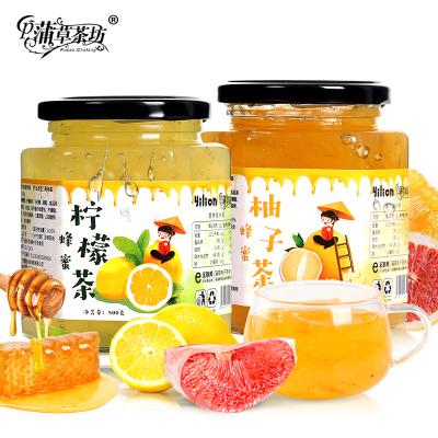 【買即送勺】蜂蜜柚子茶500g檸檬茶500g沖飲水果果粒茶果味茶組合2瓶裝共1000g