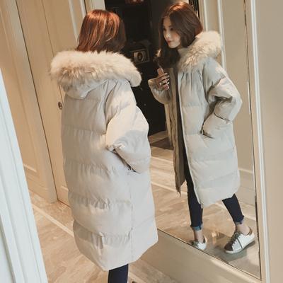 魅言魅語(MeiYanMeiYu)棉服女2019冬季加厚毛領連帽面包服外套棉襖中長款過膝棉衣