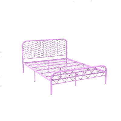 北歐ins網紅風斯黛拉金色雙人鐵床極簡設計師1.8米床鐵藝床成人 1500mm*1900mm_粉紅色(網片