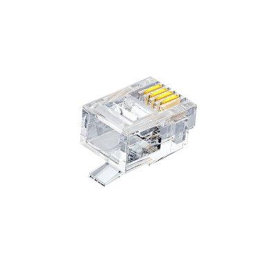 山泽电话水晶头6P2C2芯电话线接头RJ11 100个SJT-32100单位:盒