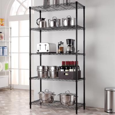 美之高(MZG)家用重型貨架廚房置物架收納書架加強型五層倉儲架多層儲物架收納架子