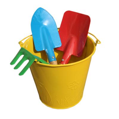 兒童沙灘玩具鐵質套裝小鏟子木制手柄桶寶寶孩戶外戲水挖玩沙玩具 樂婷美欣