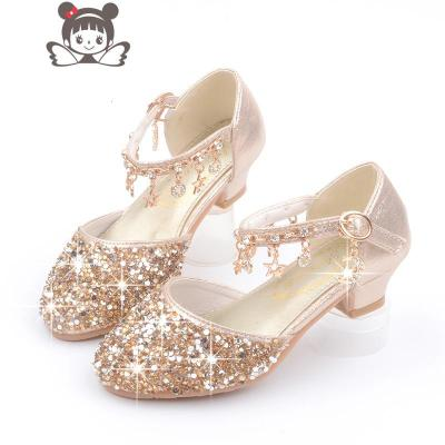 女寶寶高跟鞋 2019新款兒童公主鞋 3-12歲童鞋金色銀色演出皮鞋子