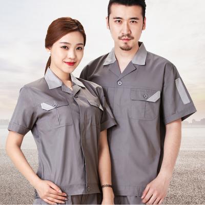 短袖工作服套裝男夏季汽修電焊工勞保服工衣工裝工人服(套)
