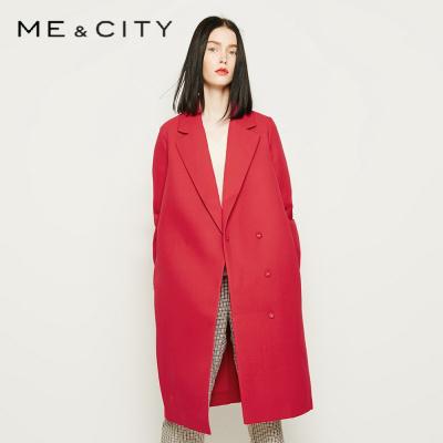 【2件2.5折價:67.3】ME&CITY女士時尚純色外套簡潔直身針織大衣