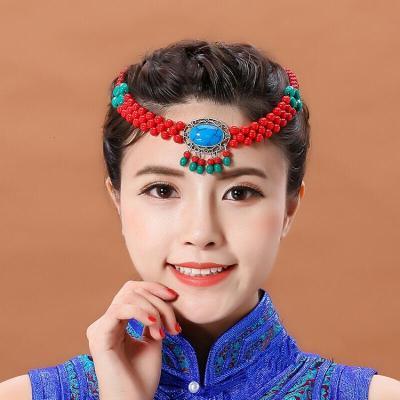 因樂思(YINLESI)藏族舞蹈頭飾 蒙古族藏族羌族少數民族風舞蹈演出跳舞頭飾佩飾配飾手工串珠發飾