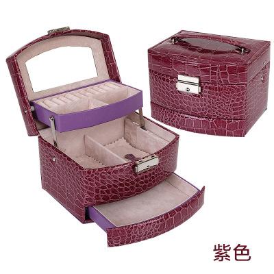 鳄鱼纹自动首饰盒 皮革三层饰品盒收纳 欧美珠宝首饰盒化妆箱 紫色