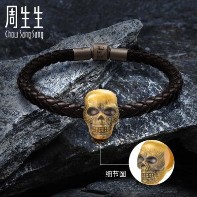 周生生 白敬亭代言 黃金手鏈足金Noir系列永恒串珠骷髏頭XL 87457C定價