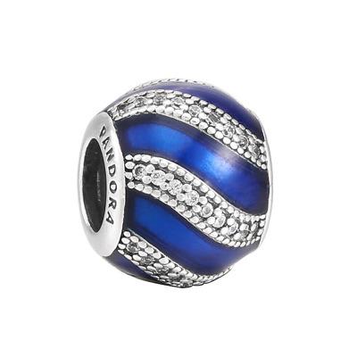 PANDORA潘多拉 藍色配飾925銀 女士琺瑯串飾-791991EN118
