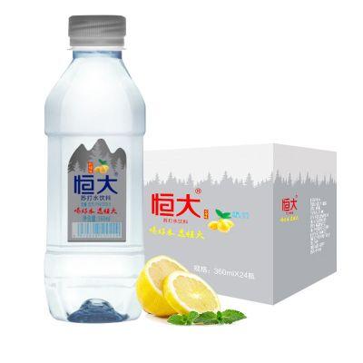 8月新貨 恒大檸檬味蘇打水360ml*24瓶整箱飲料無糖無汽弱堿性備孕飲品礦泉水