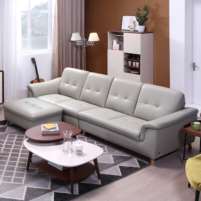 左右真皮沙发现代北欧时尚大小户型客厅沙发组合套装实木家具DZY6008