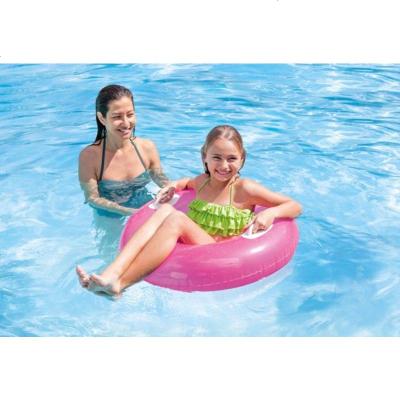 透明紅內徑28CM兒童帶把手加厚游泳圈綠色紅色網紅女透明救生圈節日舞蹈道具 定制