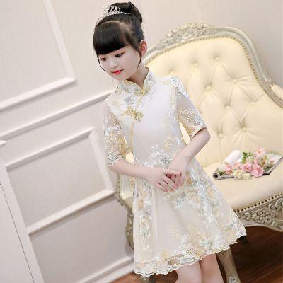 女童旗袍連衣裙夏季兒童禮服2020新款公主裙古箏學生演出中國風裙 莎丞